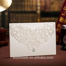Elegant Laser Cut Wedding Invitation Card with bead Gemstone CW3129