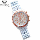 Geneva chronograph watch ips classic silver alloy wristwatch for ladies