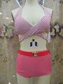Hersteller verkauf 2014 neue außenhandel marine Wind blau weiß hoch- Taille bikini badeanzug rote tasse