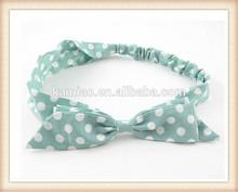 2015 new fashion chiffon fabric ladies white polka dot hair band bow headband hair accessories