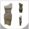2014 new design 2 piece dress one-shoulder tartan design bandage dress