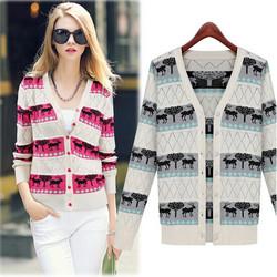 HFR-R-387 V neck reindeer knitting pattern women sweater