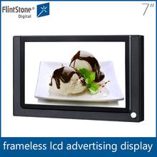 Flintstone 7 inch bathroom advertising frames, ir body sensor digital monitor, full color led tv advertising display