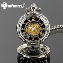 PACIFISTOR Classic Mens Skeleton Mechanical Roman Pocket Chain Watch 2015 New Luxury Pendant