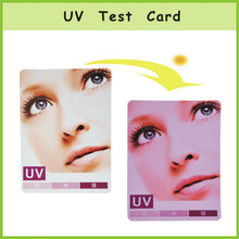 CE fashion hang tag color changing pvc uv test card
