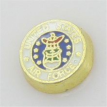 New Round Shape United States Air Force Floating Charms Gold Jewelry