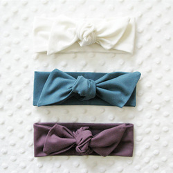 Vintage style elastic cotton baby jersey knot headbands