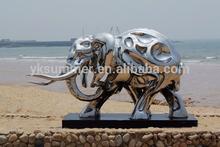 Modern elephant stainless steel sculpture