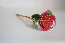 Golden Real Rose Funcy Valentine Gift,24K Gold Foil Natural Rose Flower,Elegant Glitter Decorative Wedding Christmas Rose Flower