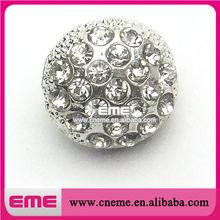 Wholesale Round Ball Silver Metal Rhinestone Button
