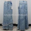china por mayor de moda de diseño coreano mujer jean faldas largas