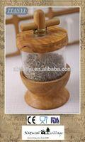 New design Olive wood herb dispenser/grinder