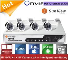 4ch NVR KIT 720P HD P2P IP Camera outdoor ONVIF h264 nvr kits cctv kits