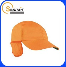 Custom cheap stylish orange winter ear flaps baseball caps