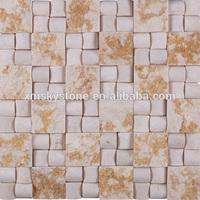 SKY-M049 Indoor Red Irregular Cube 3D Flower Wall Mosaic Tile