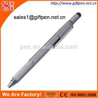 unique 6 in 1 pen with stylus,ruler,ballpen,levelgauge,2 screw driver