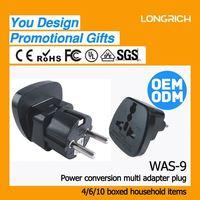 Universal travel socket type 2 round pin to 3 pin adapter plug,multi-use 110 types plugs