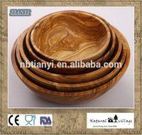 Olive wood handcrafted salad bowl