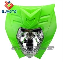 Green Good Quality 12/35w Dirt bike Motorcycle Universal Vision Headlight fit for ktm 125cc dirt bike