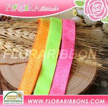 Neon frosted elastic ribbons Neon metallic glitter elastic