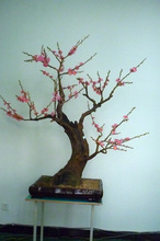 2014 Guangzhou SJ high quality new style red artificial flower bonsai Plum for home decoration