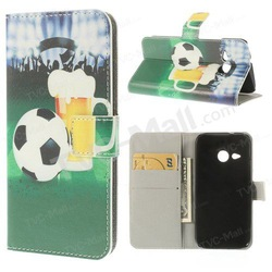 For HTC One Mini 2 / M8 Mini Flip Leather Card Holder Case Stand - Football Beer