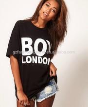 Ligeramente sueltos camisetas para las mujeres, negro t- shirt diseño