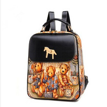 2014 Korean japan style ladies fashion print bear pu leather backpack with metal horse design