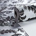 italian retro decorative fire retardant pvc rubber silver foil vinyl wallpaper