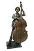 Bronze Boy Playing Bass Statue Brass Children Sculptures