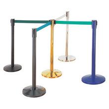 Retractable airport stanchion queue barrier post