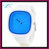 green waterproof silicone sport watch,ss com jelly watch with square face