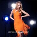 mujer árabe hueco sexy de color naranja a cabo bodycon borla vendaje vestido vestido de baile