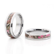 Pink tree camo tungsten ring