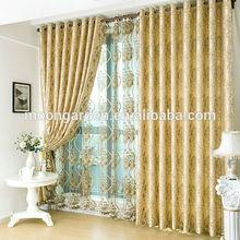 Yellow color dubai style hot sales classic design luxury blackout jacquard curtains