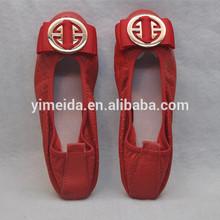Fashion Wholesale China Leather Flat Lady's Shoes