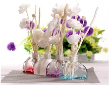 colored decorative air fresher reed diffuser glass bottle with wooden sticks