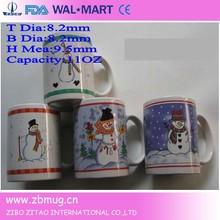 hotsale various decal fashion design 11oz snowman gift christmas ceramic coffee mug
