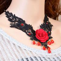 Special design red rose fake lace collars ladies red rose collar design