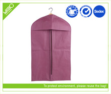 Customized non woven storage pink suit cover garment bag for dress & men's suit