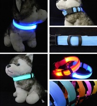 Flashing Multi-color Nylon Dog Cat Pet LED Glowing Collar for Safety