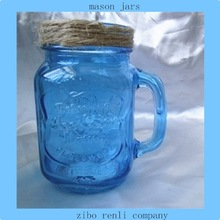 Antique Blue Color Fruit Canning Square Pattern Handled Empty Glass Mason Jars