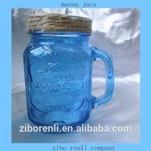 Antique Blue Color Fruit Canning Square Pattern Handled Empty Glass Mason Jars