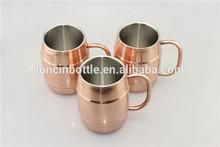 Barrel kupfer mug, tonnenförmige edelstahl kupfer bierkrug, isoliert bierkühlvorrichtung mit verkupferung