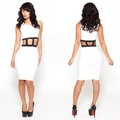 nkm101wholesale bandagem na cintura oco mangas bodycon branco meninas vestidos de festa