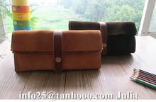 Large capacity cow swede leather pen case pencil case