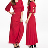 Wholesale fashion latest design polyester spandex half sleeve sexy red western gowns party dresses