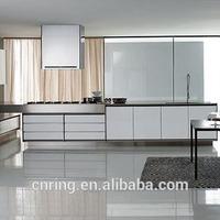 2015 modern white high gloss vinyl wrap doors kitchen cabinets hot sale