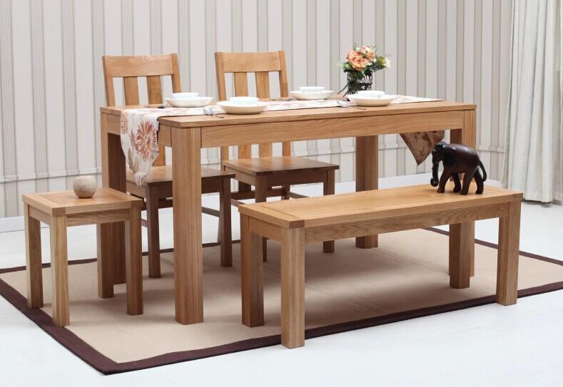 puur massief hout eettafel/wit eiken meubelen woonkamer/eetkamer tafel ...