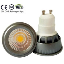 Aluminium warm white 3W Ra>80 led GU10 COB light